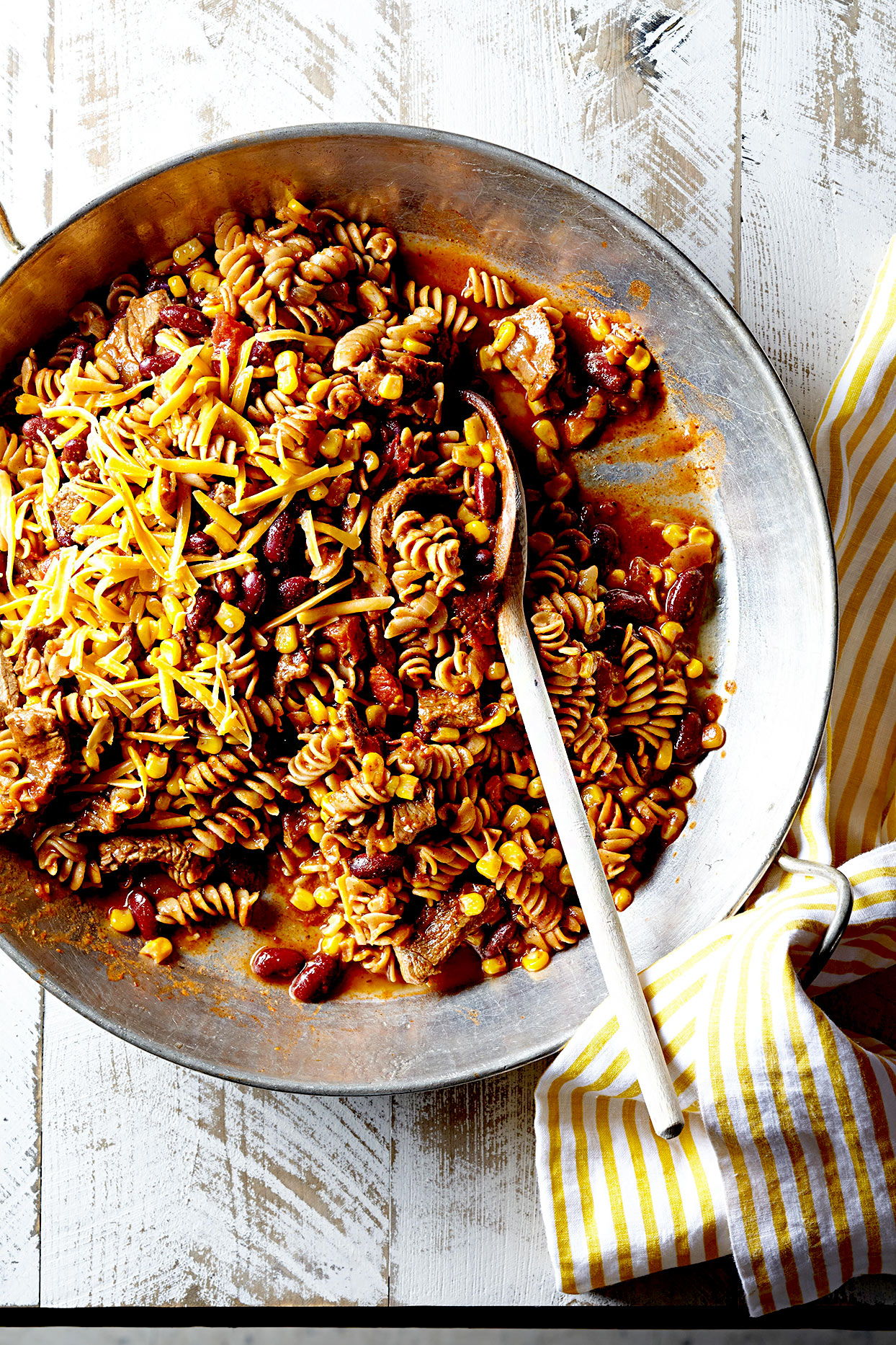 Rotini with Beef and Beans