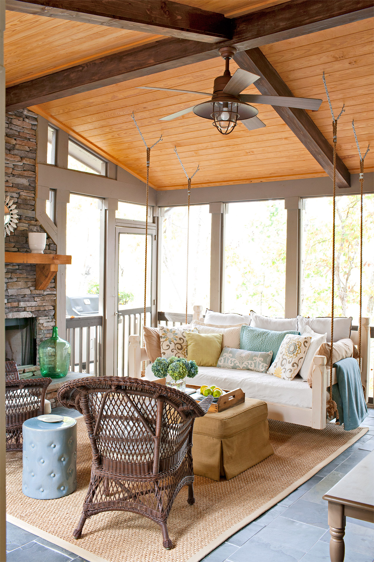 porch with couch swing