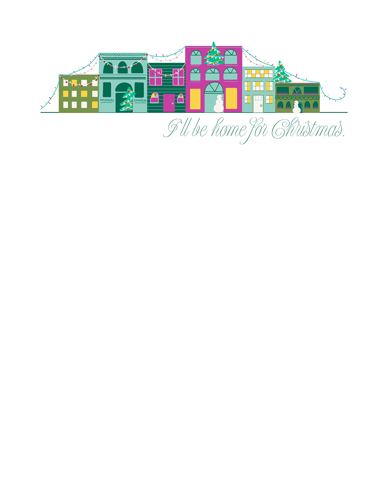"Christmas letter template with buildings and ""I'll be home for Christmas"""
