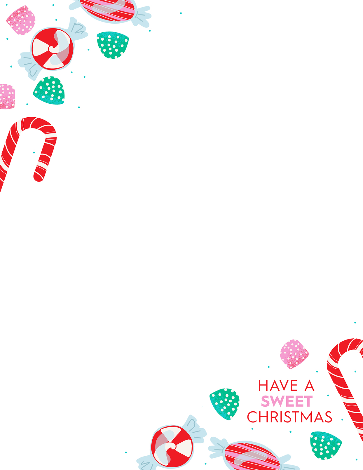 "Christmas letter template with candy and ""Have A Sweet Christmas"""