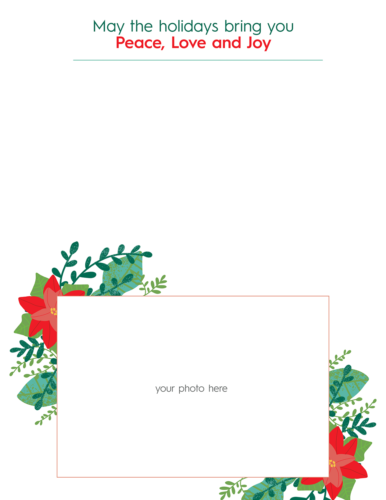 Christmas letter template with plants and place for photo