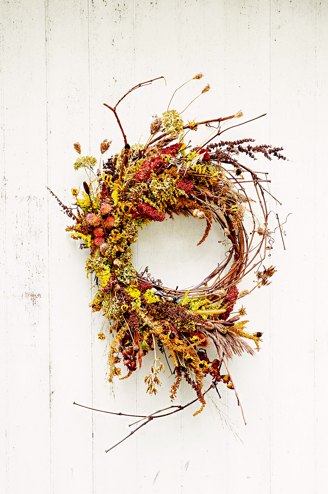 Fall leaf made of branches and plants