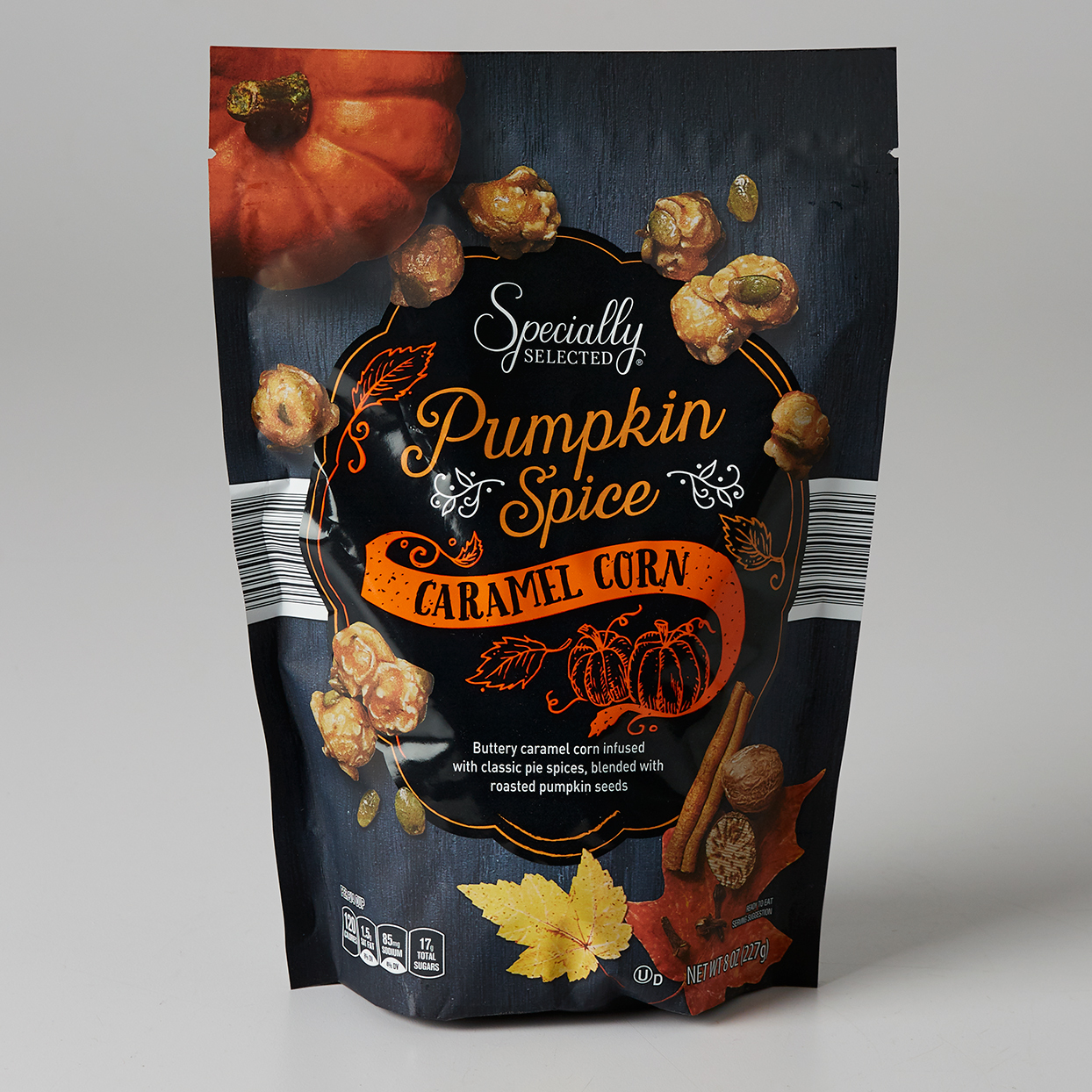 Aldi pumpkin spice caramel corn on plain background
