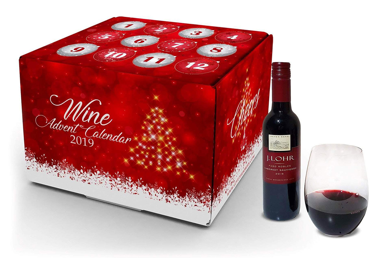 red box of wine, advent calendar