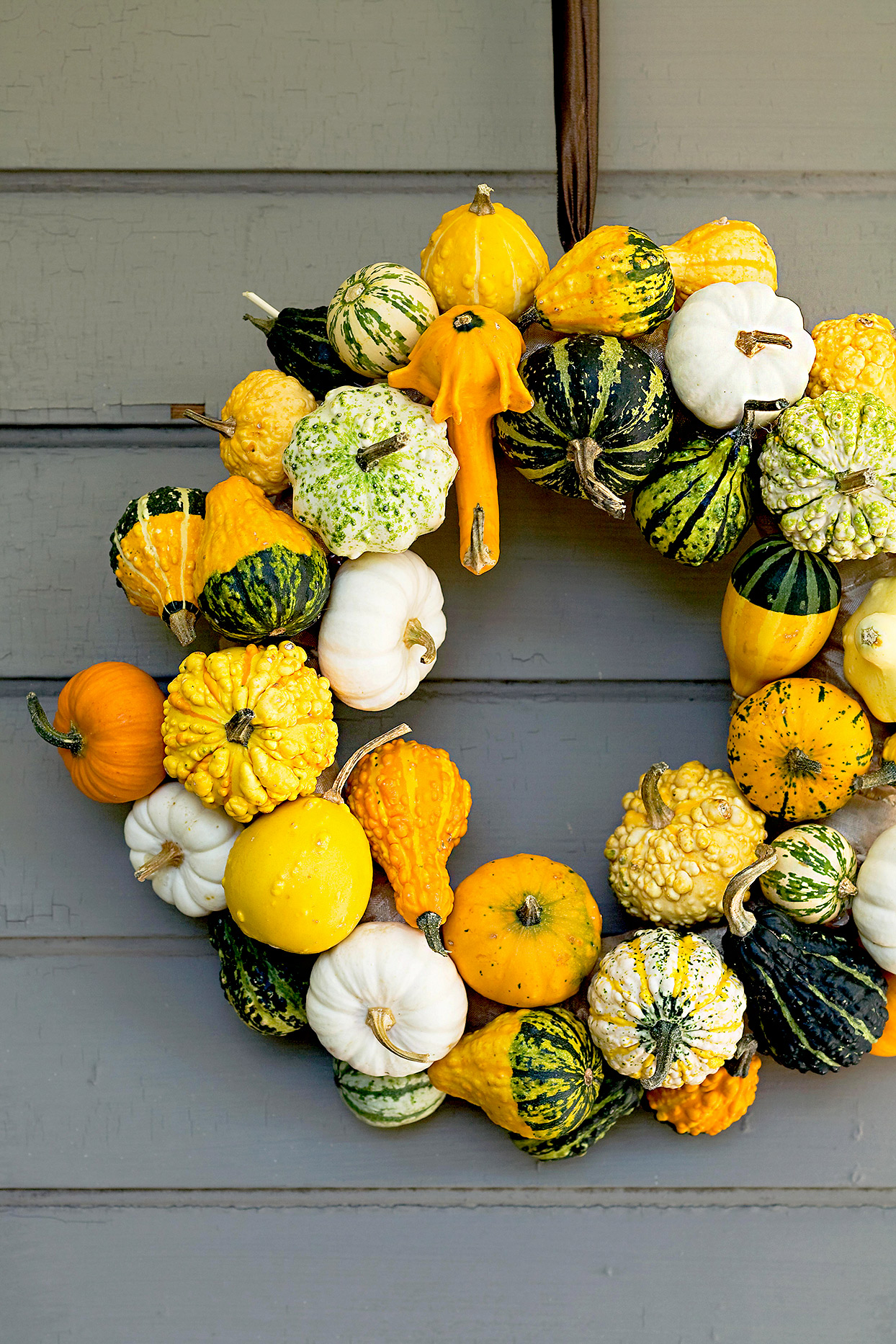 Wreath made of pumpkins and gourds