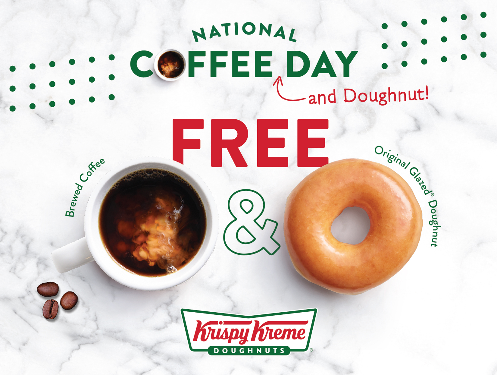 Krispy Kreme National Coffee Day coffee and donut on marbled countertop