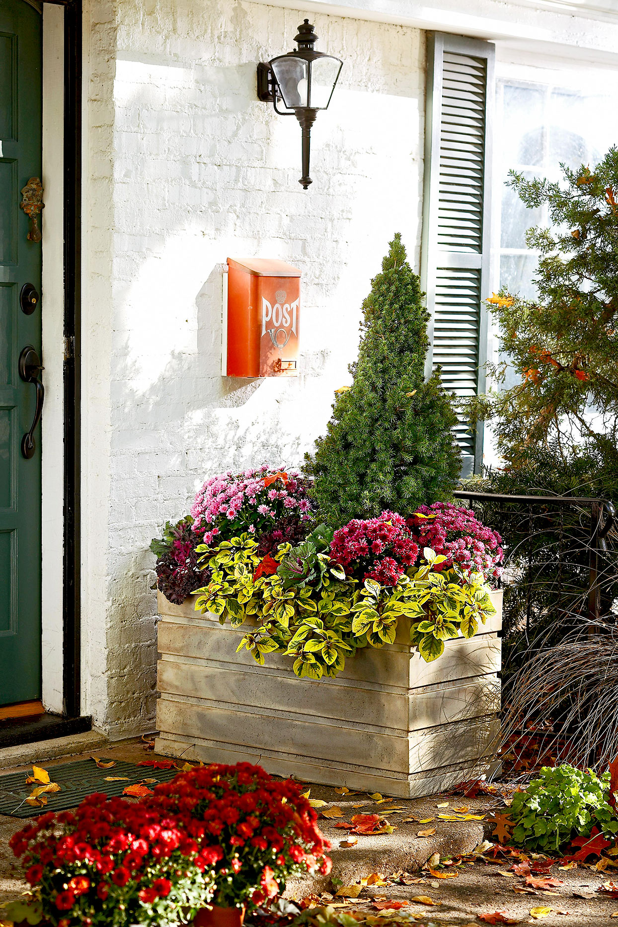 Front porch with wooden flower box
