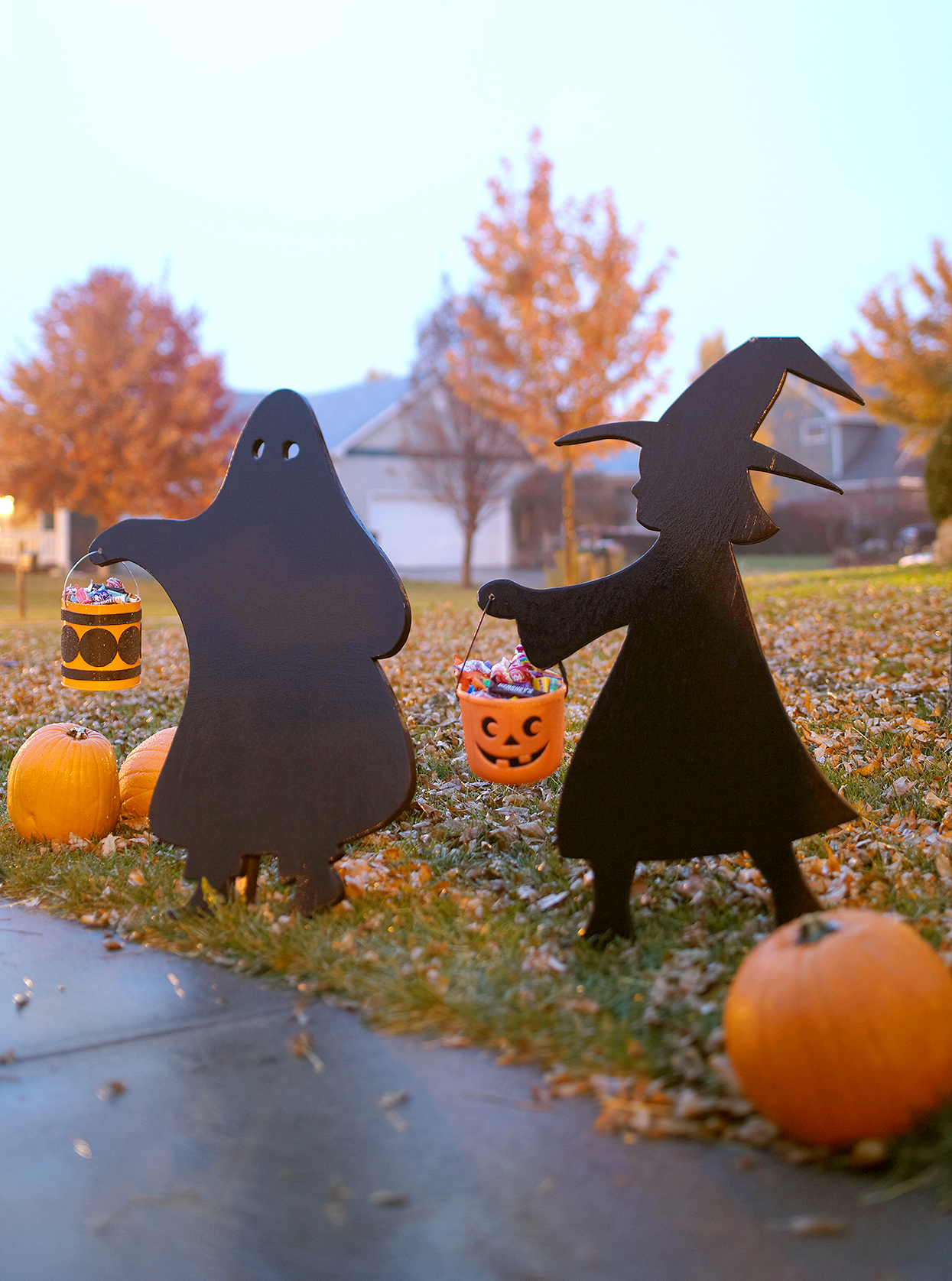 ghost and witch trick-or-treat silhouettes