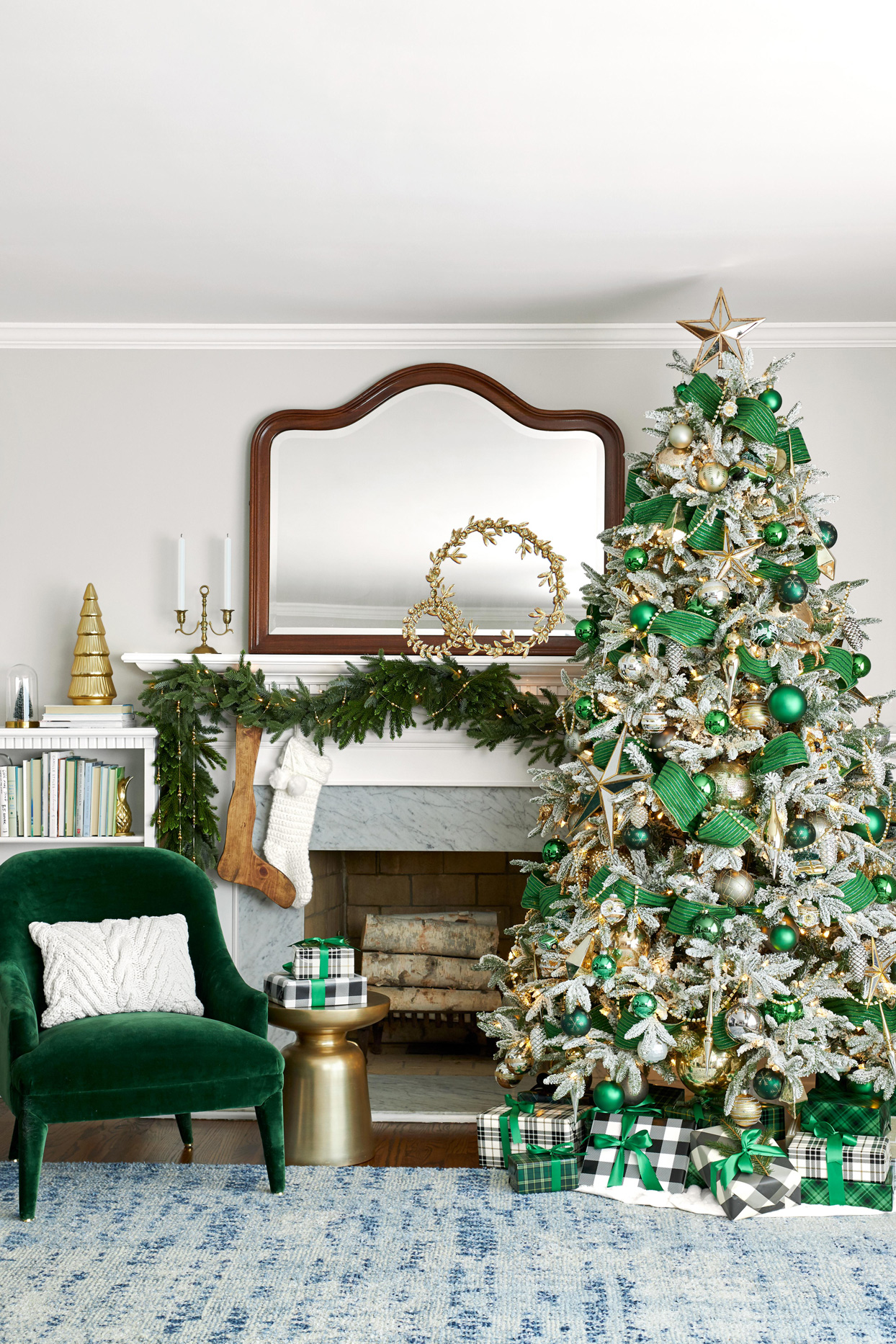 green christmas tree décor velvet chair garland