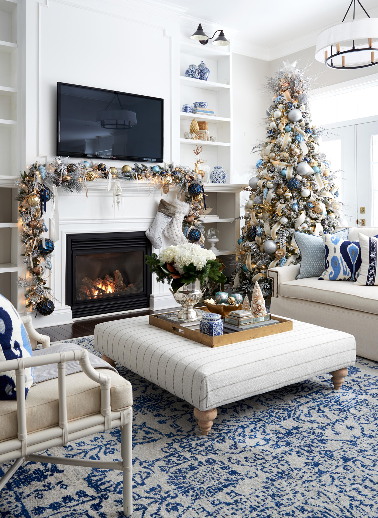 blue and gold christmas garland and tree decor
