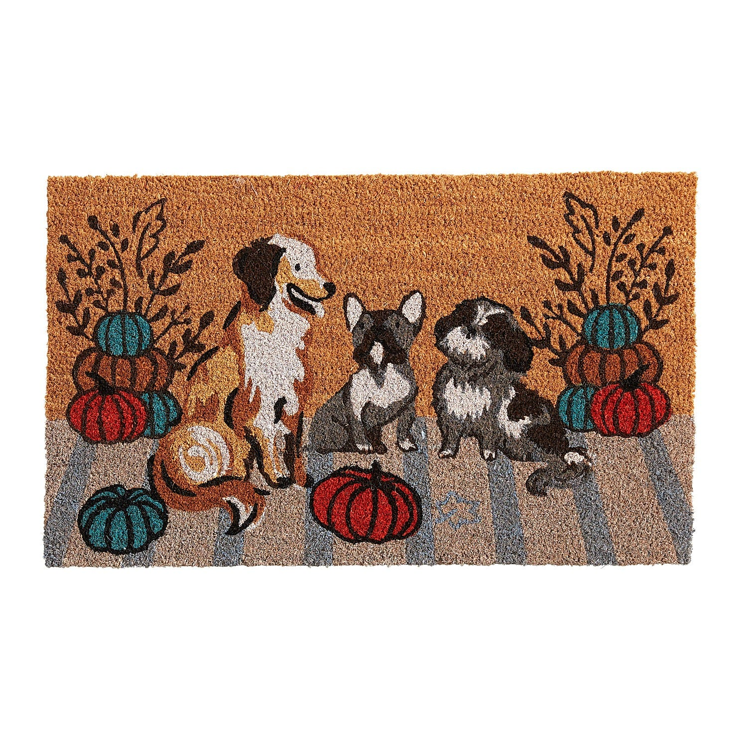 harvest themed doormat with dogs