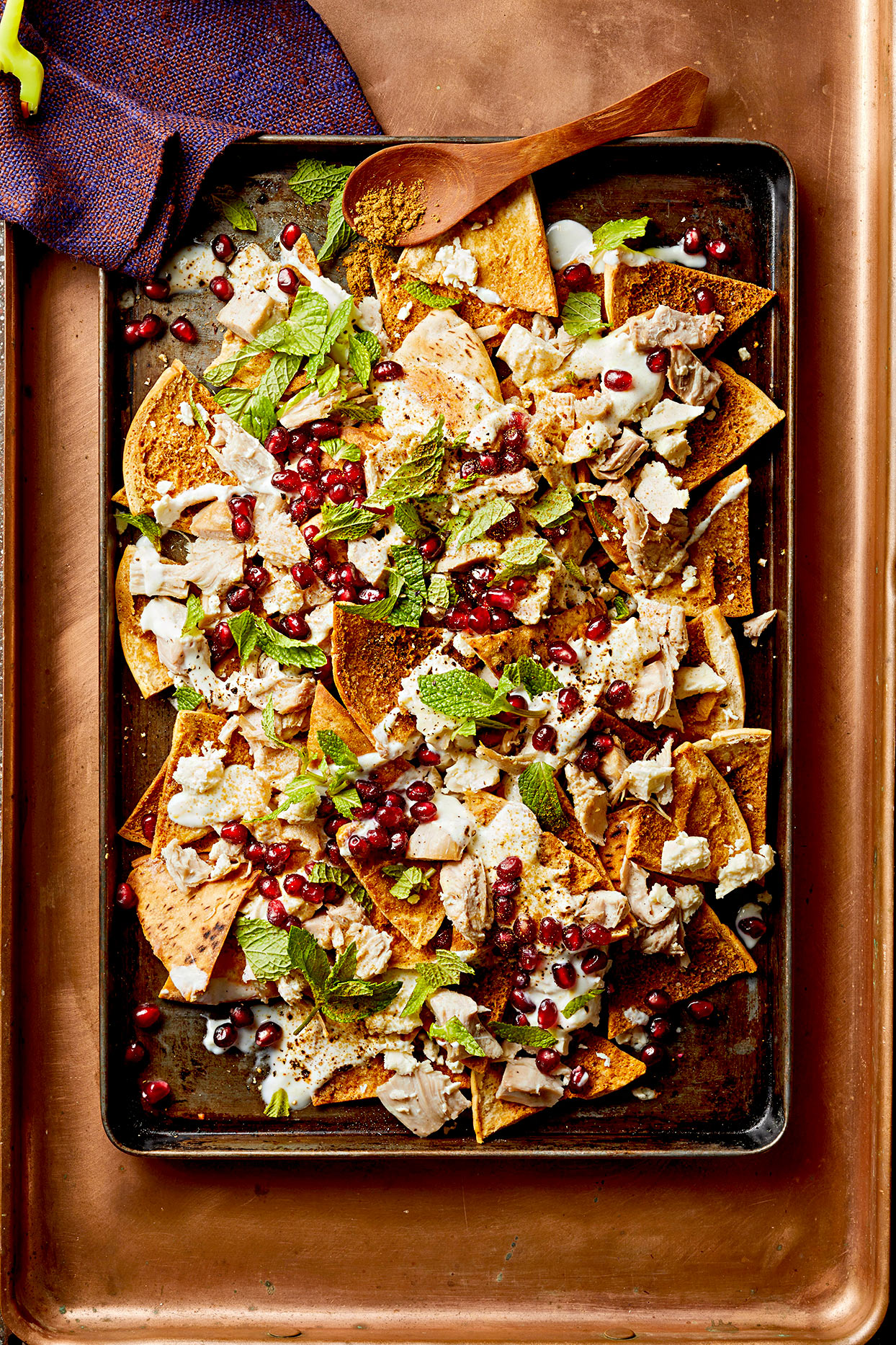 Turkey Pita Nachos with Pomegranate and Mint