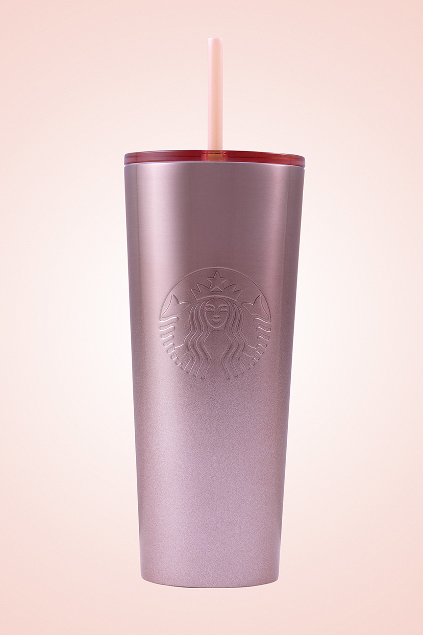 rose gold reusable cup with straw