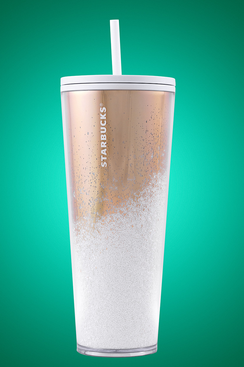 white and gold reusable cup
