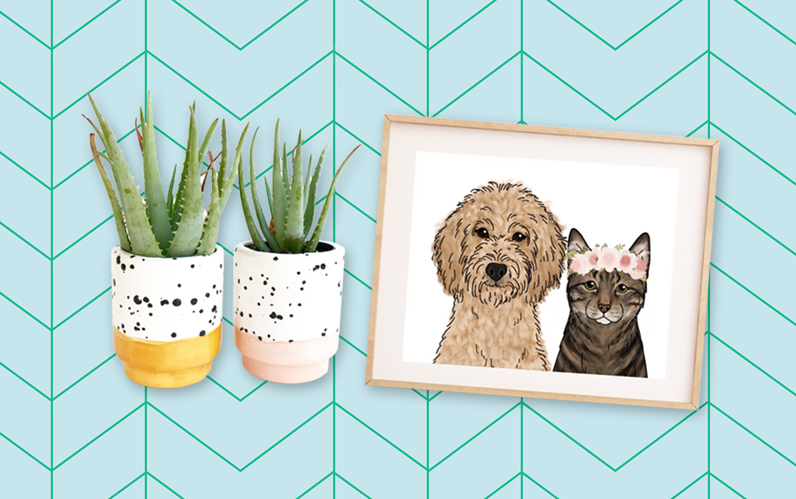 two white planters with succulents next to a framed pet portrait on a blue patterned background