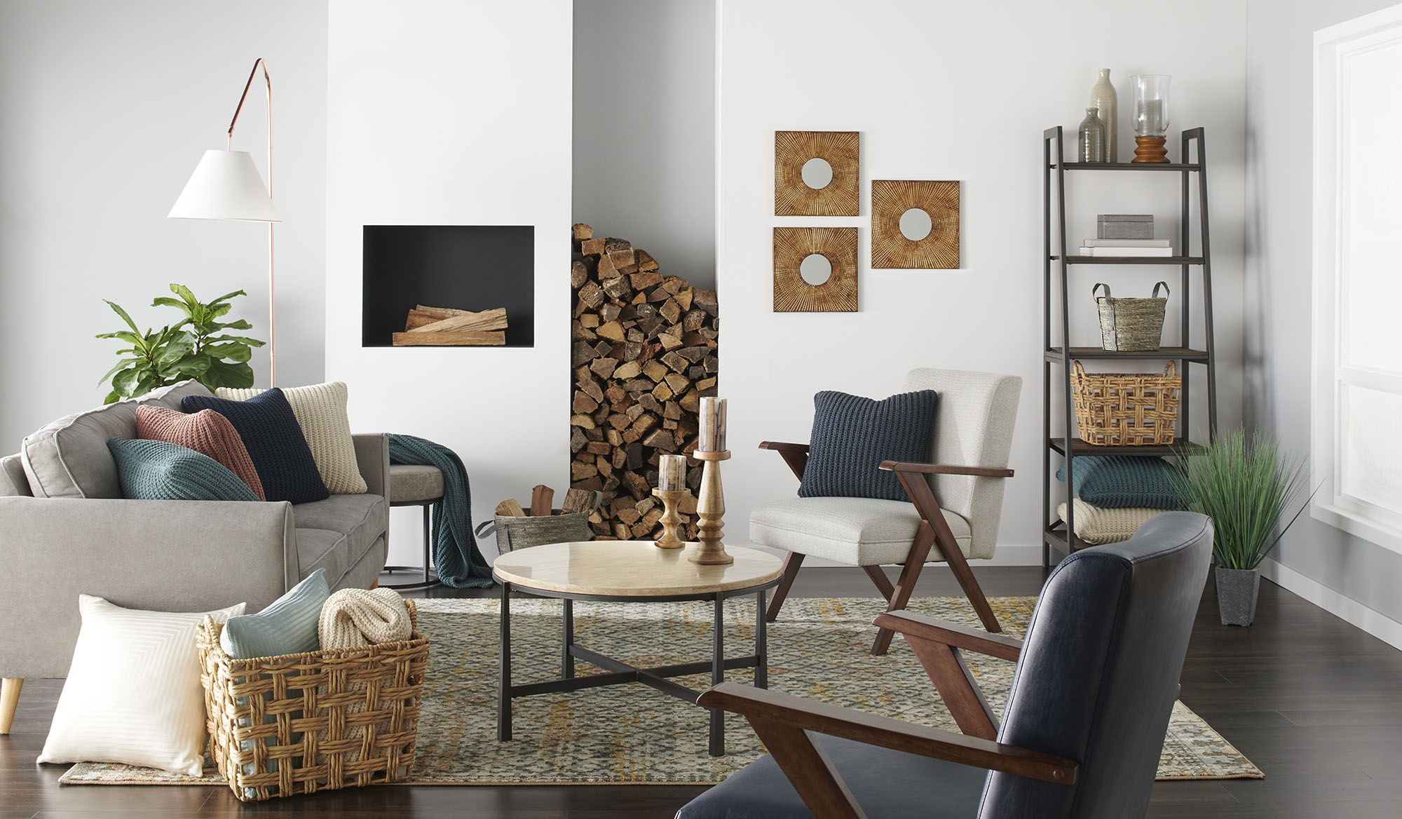 living room decorated with pieces from scott living collection
