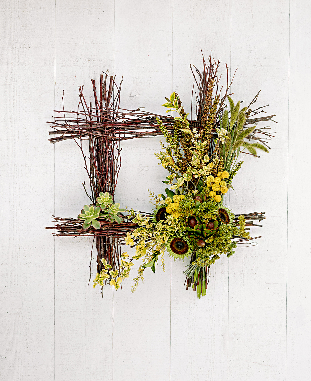 Square wreath made of branches and plants