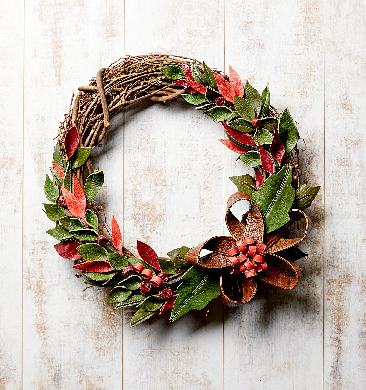 Wreath made of branches and leaves