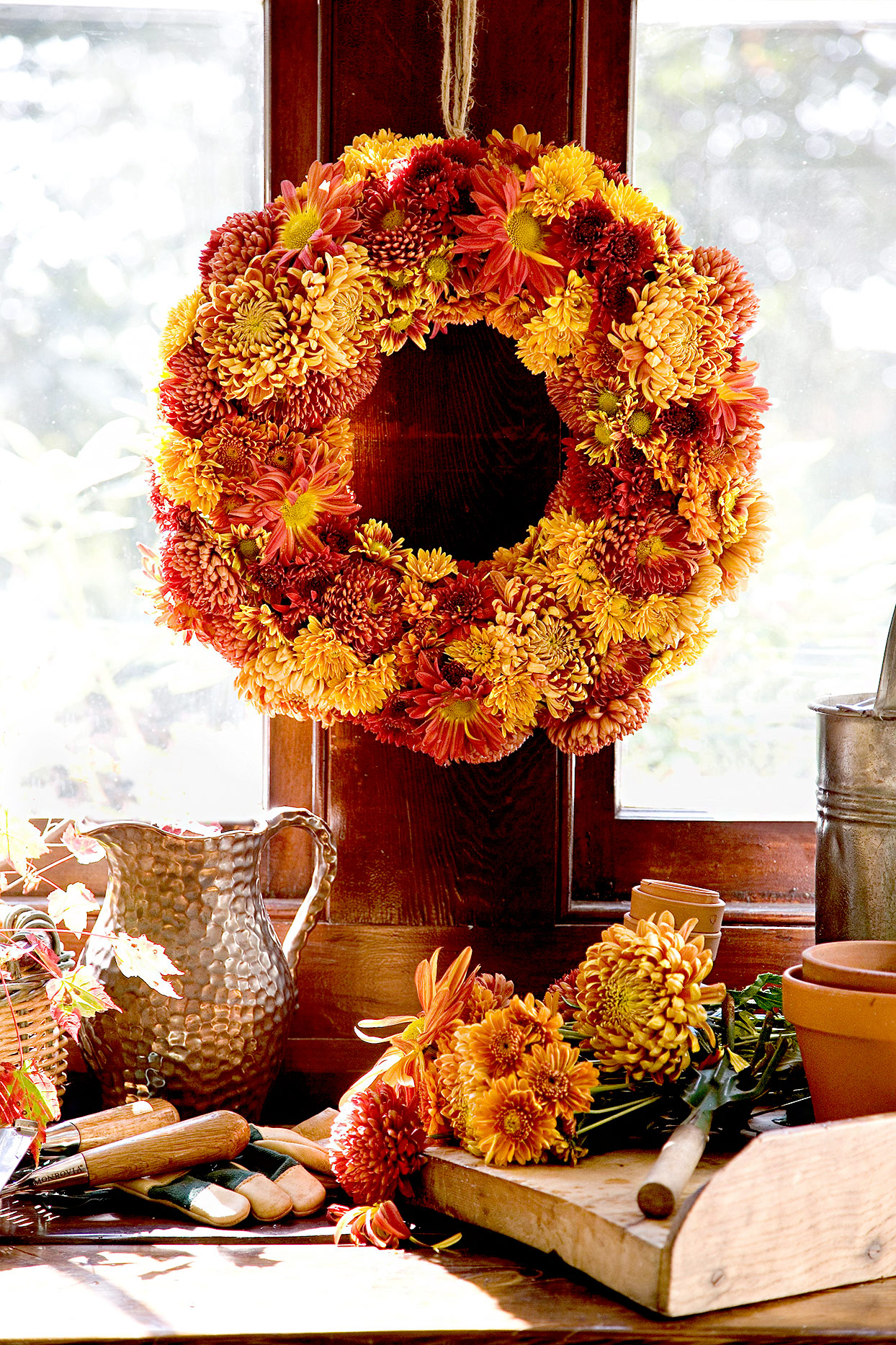 Fall colors wreath made of flowers