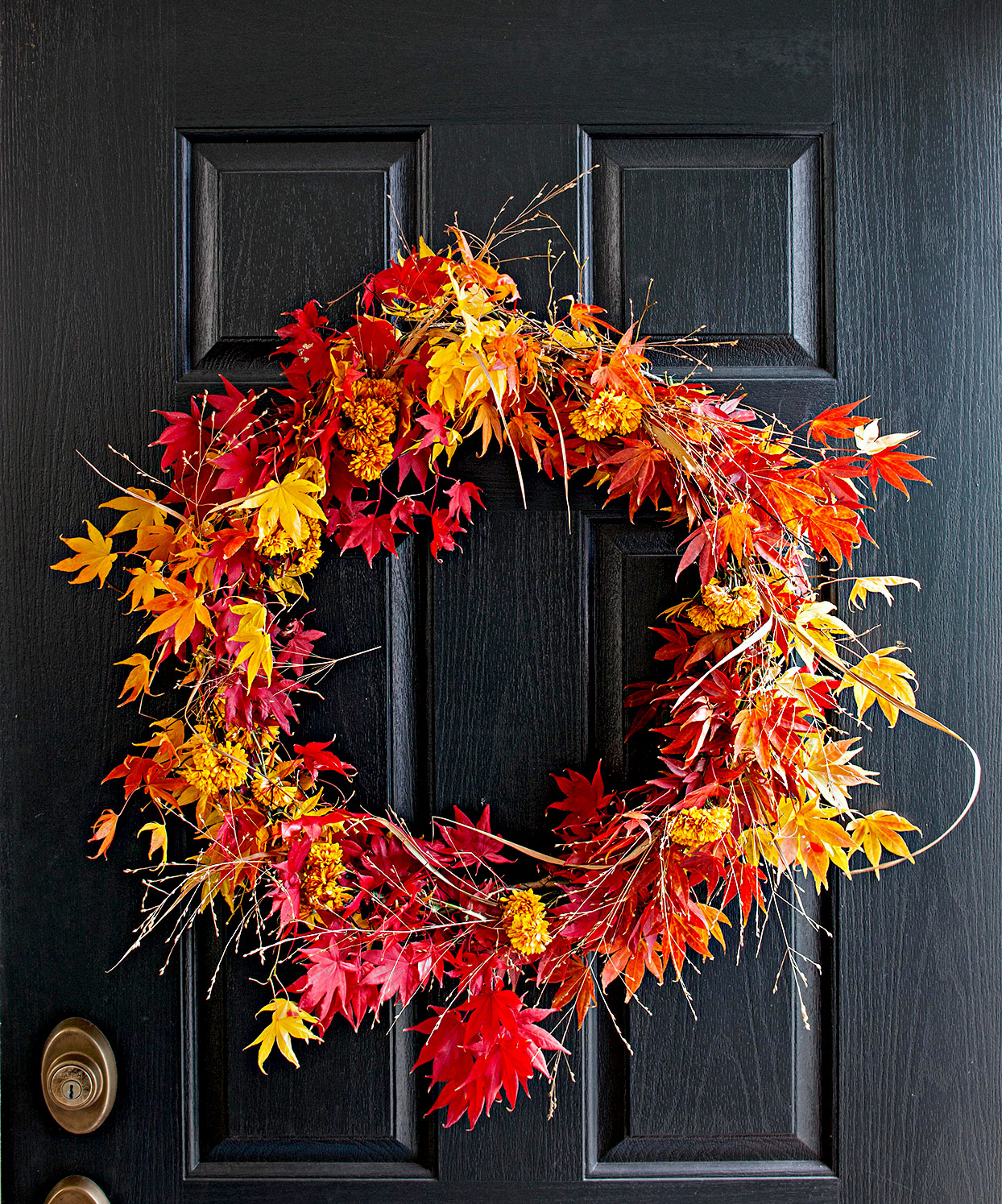 Wreath made of fall leaves