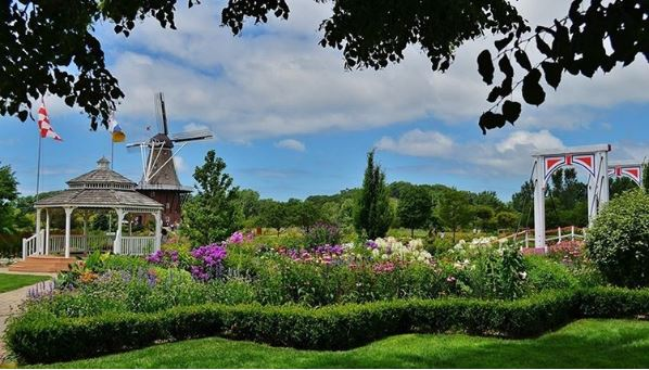 Holland Michigan landscape with windmill and flowers