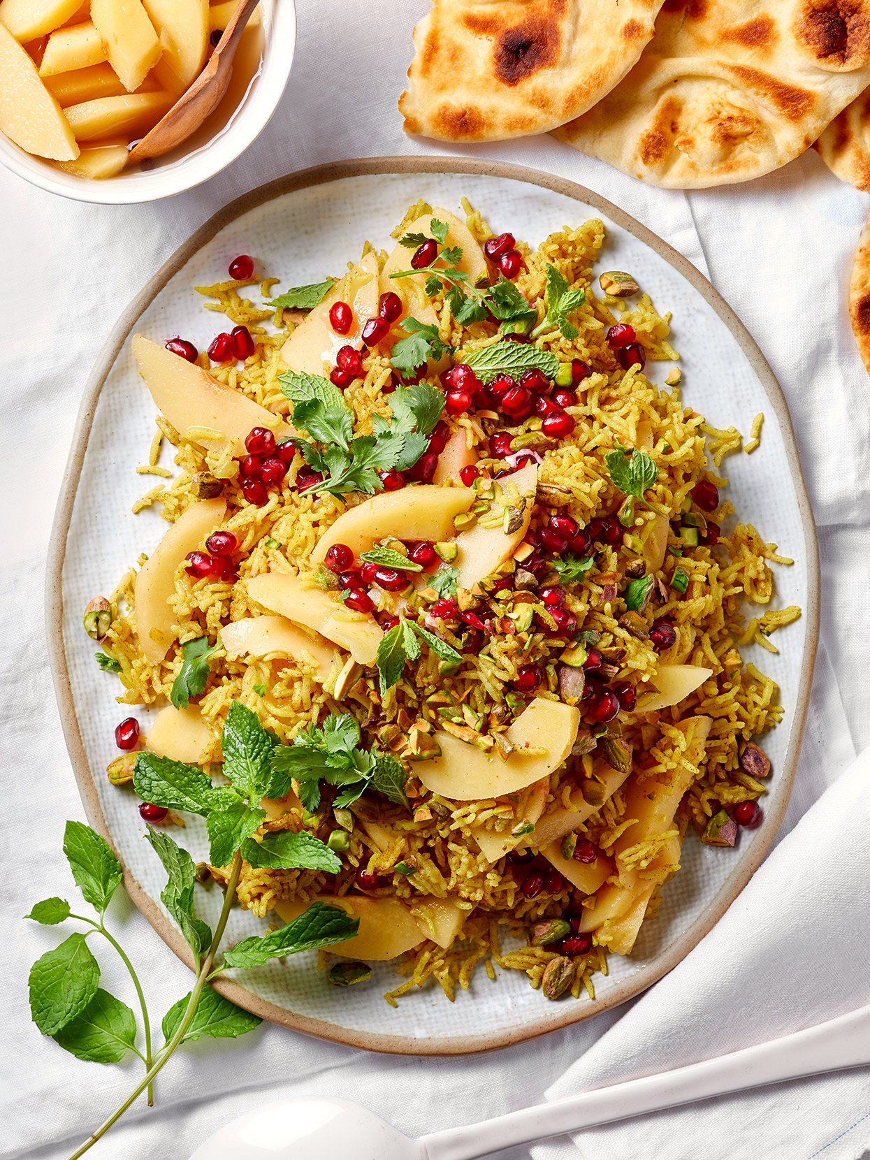 Spiced Rice with Pickled Quince and Pomegranate