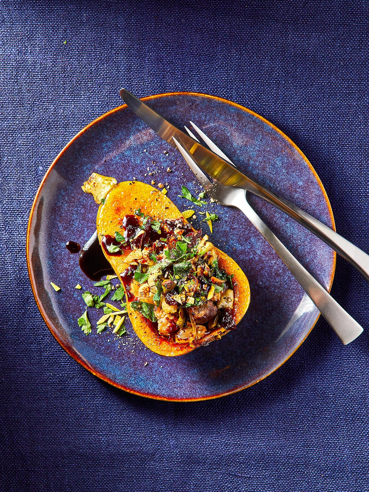 Sausage-Stuffed Honeynut Squash