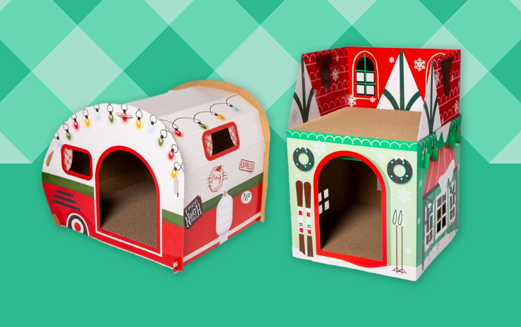 Target RV and chalet holiday cat scratcher houses