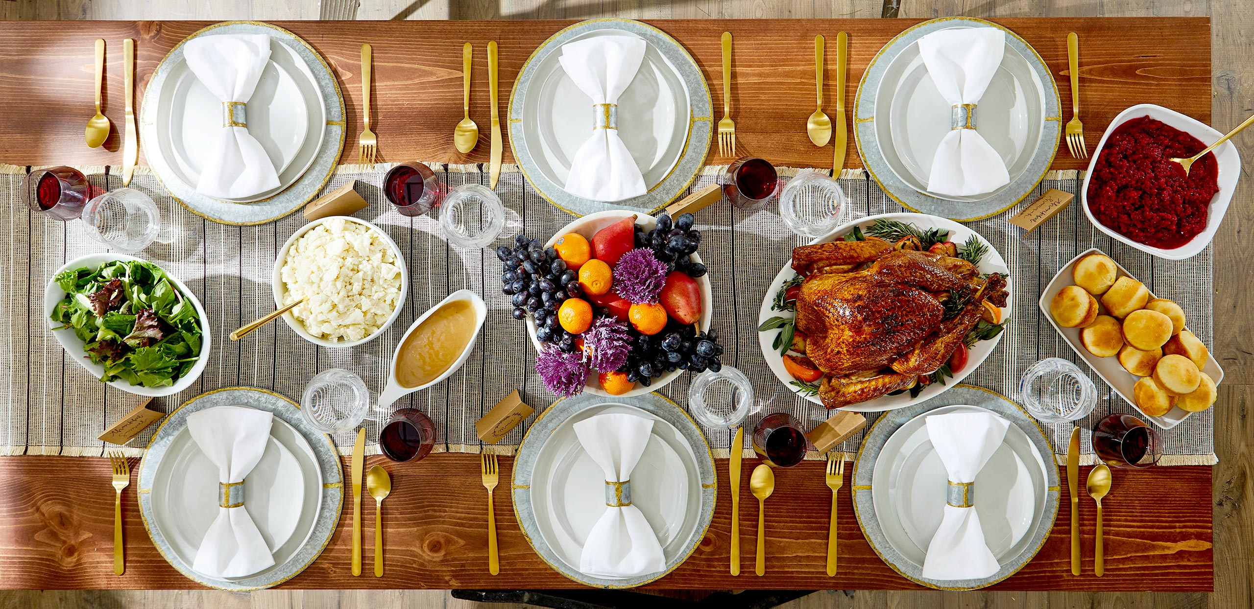 Aerial view of Thanksgiving table setting