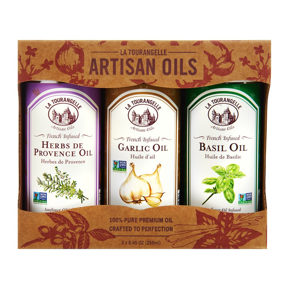Infused Herbs de Provence Oil, Infused Garlic Oil, Infused Basil Oil Gift Set