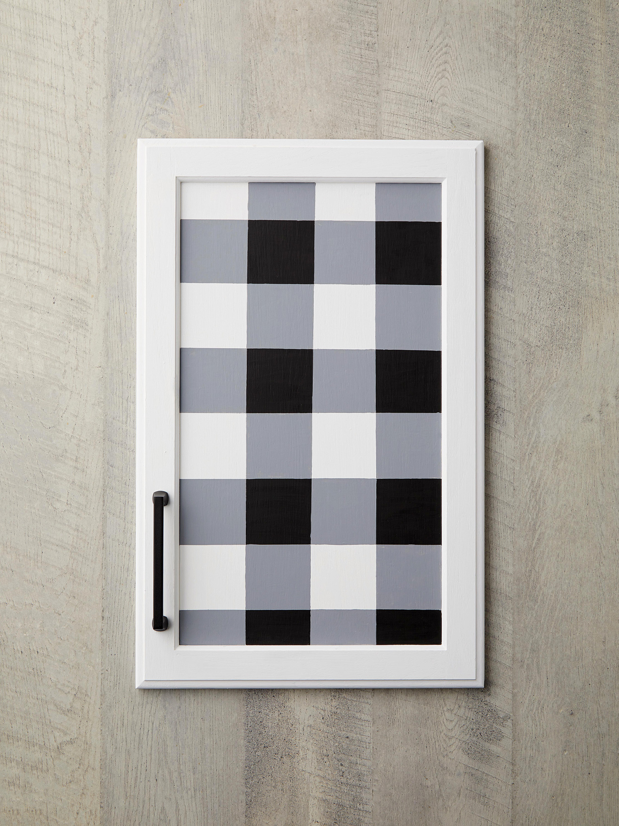 black and white checkered cabinet