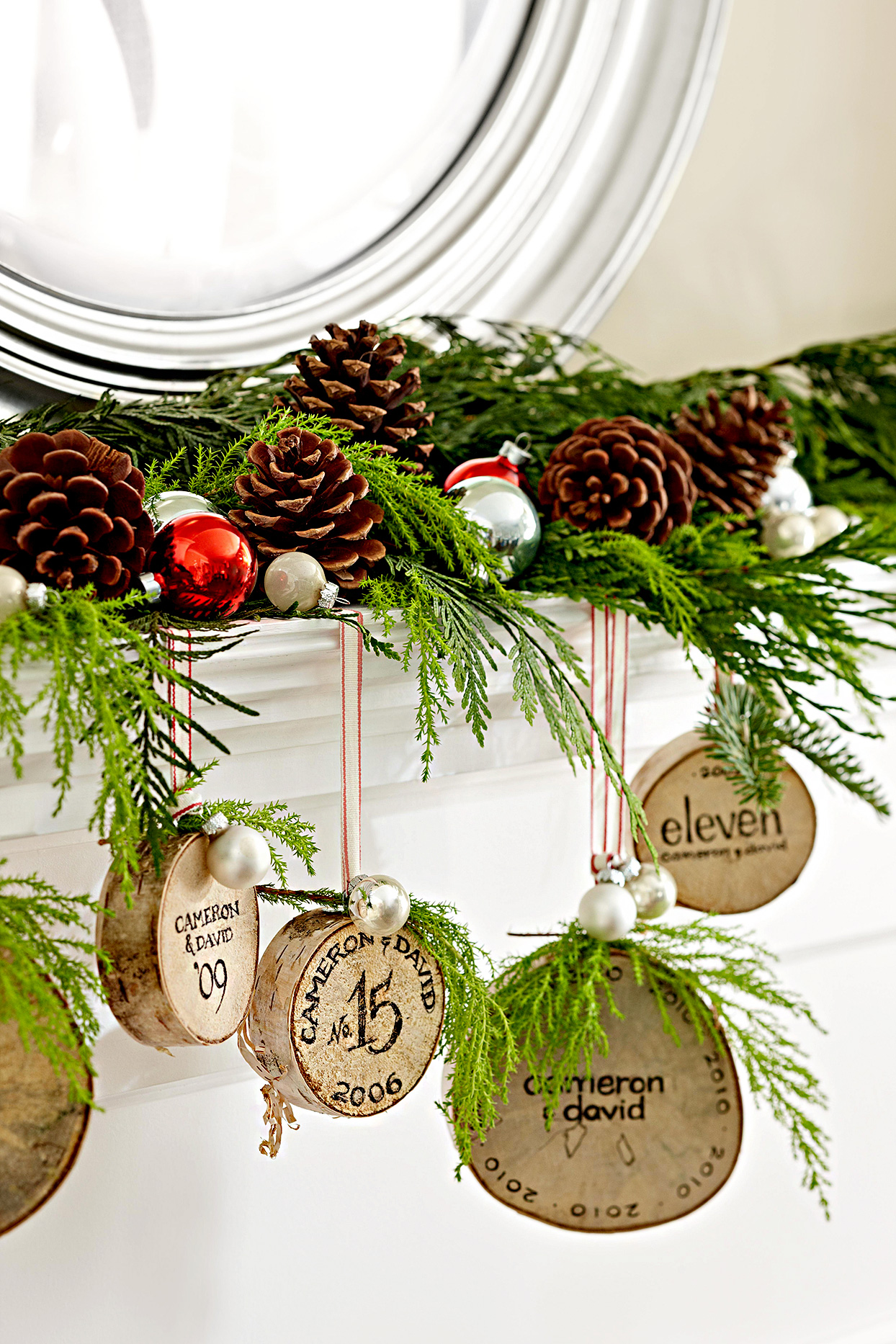 Christmas decorations with pinecones and ornaments