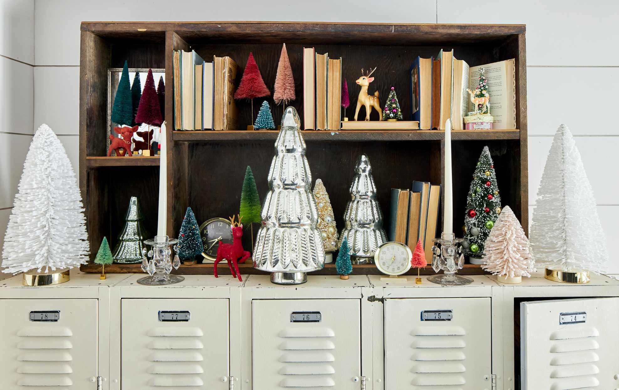 christmas tree decor on book shelf and lockers