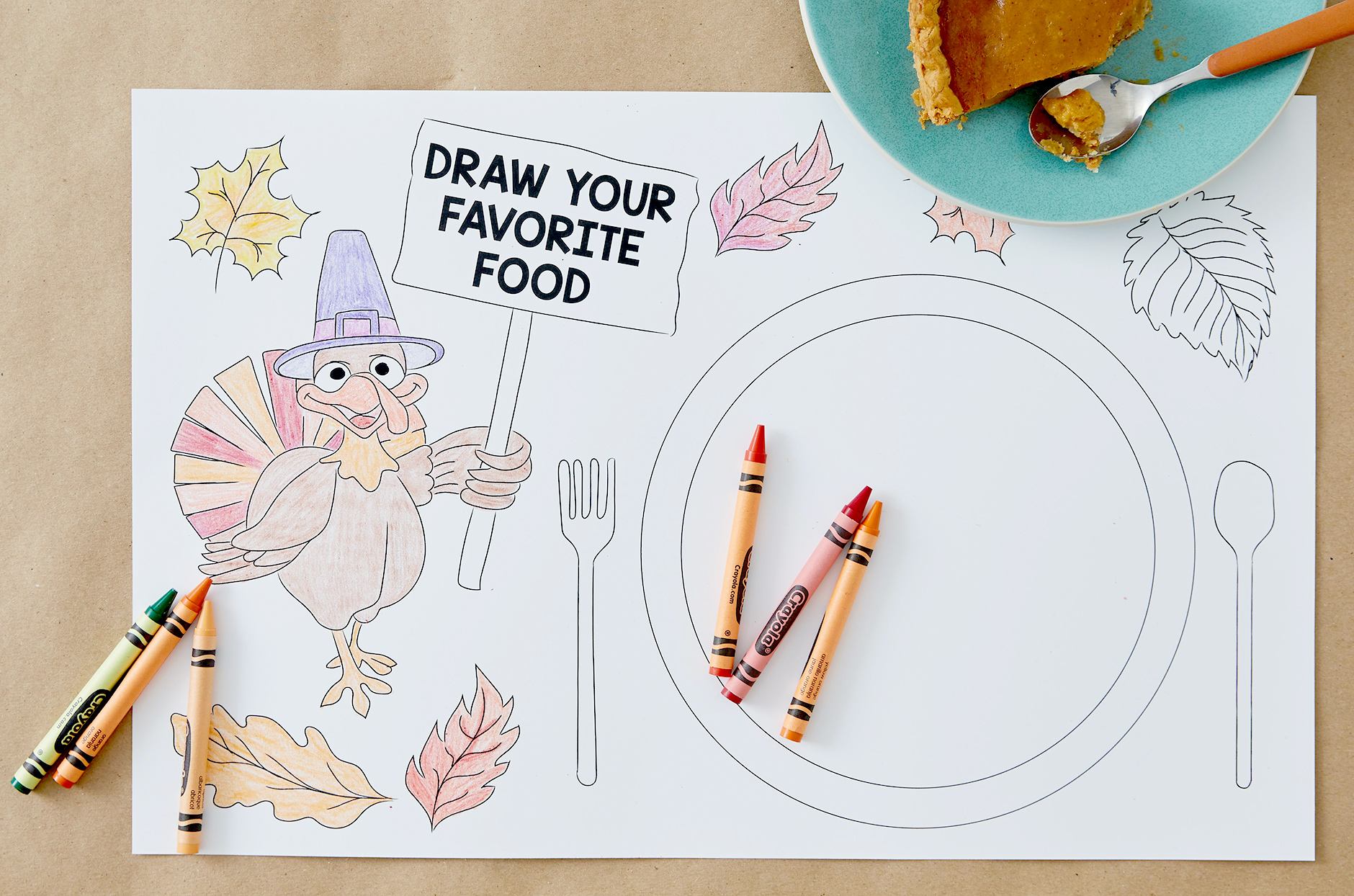 Colored placemat with crayons
