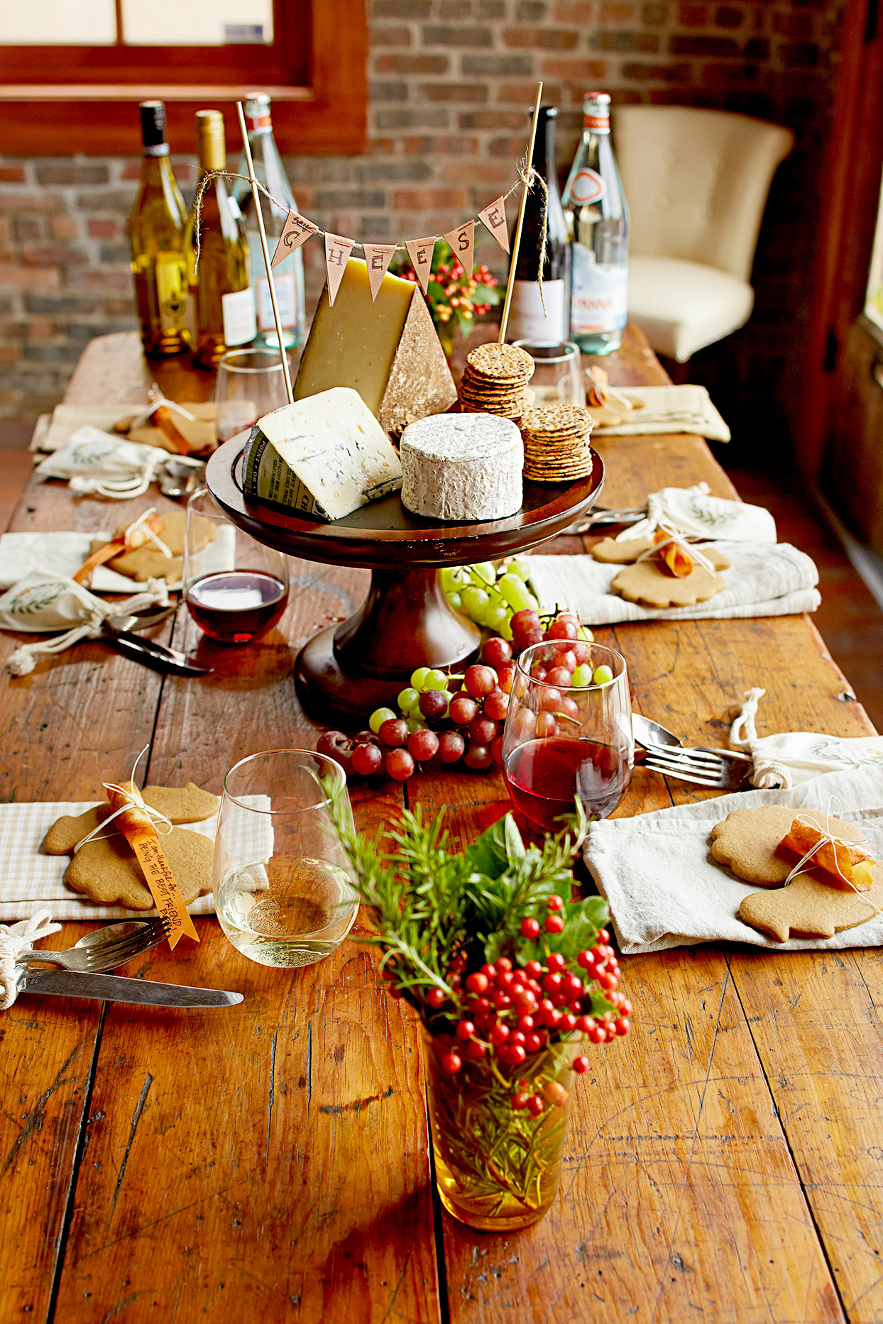 Dining setting with cheese plate and wine