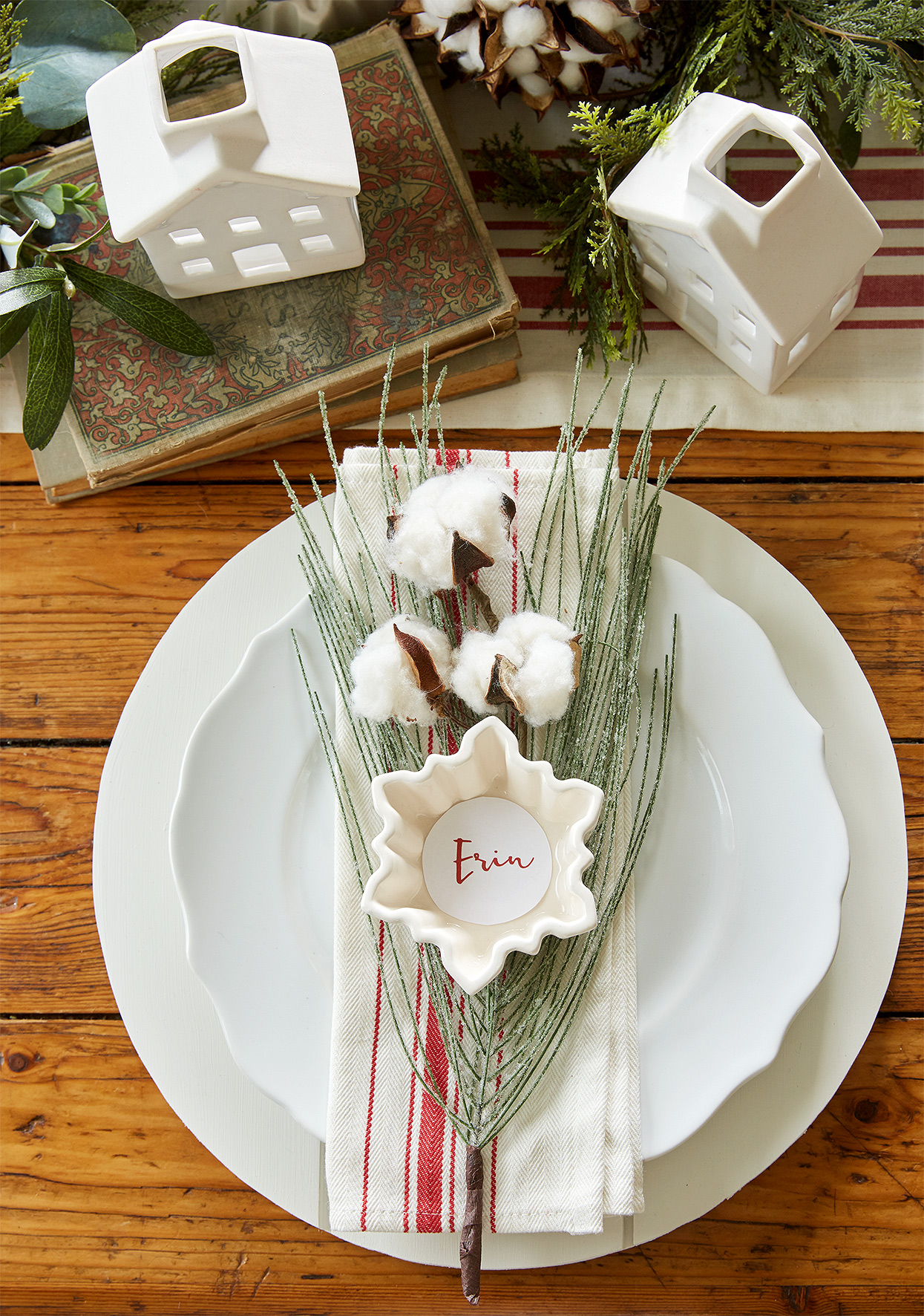 personalized Christmas place setting with snowflake dish
