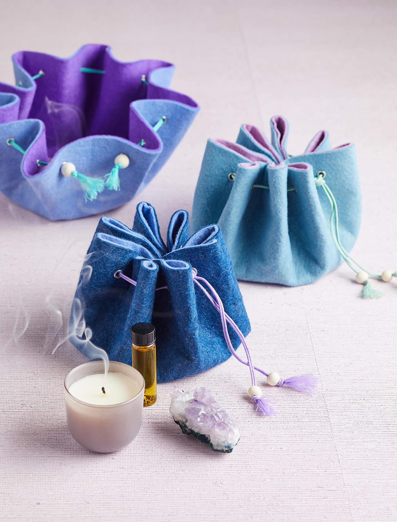 DIY blue drawstring wool bags