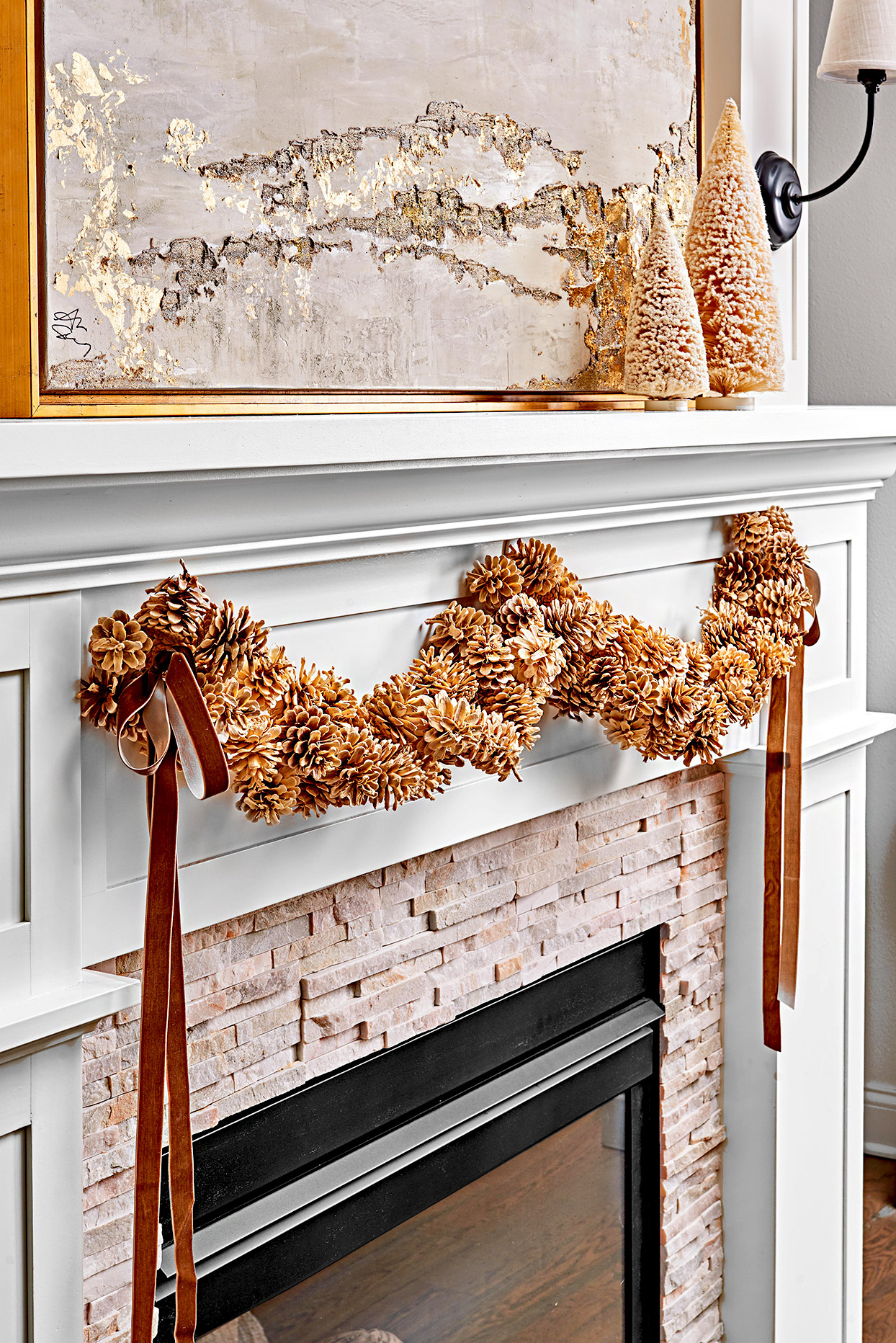 Fireplace with pinecone decoration