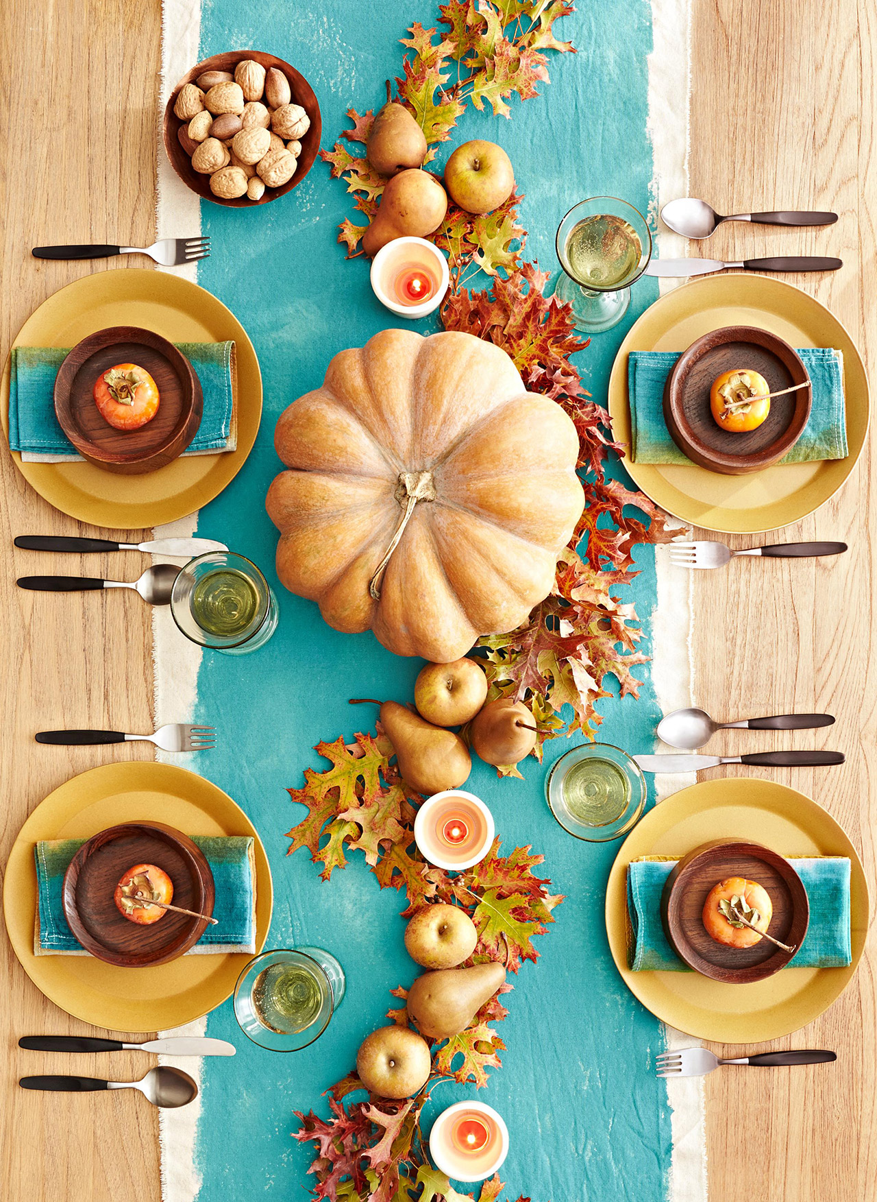 Blue and Orange Fall Table Decor