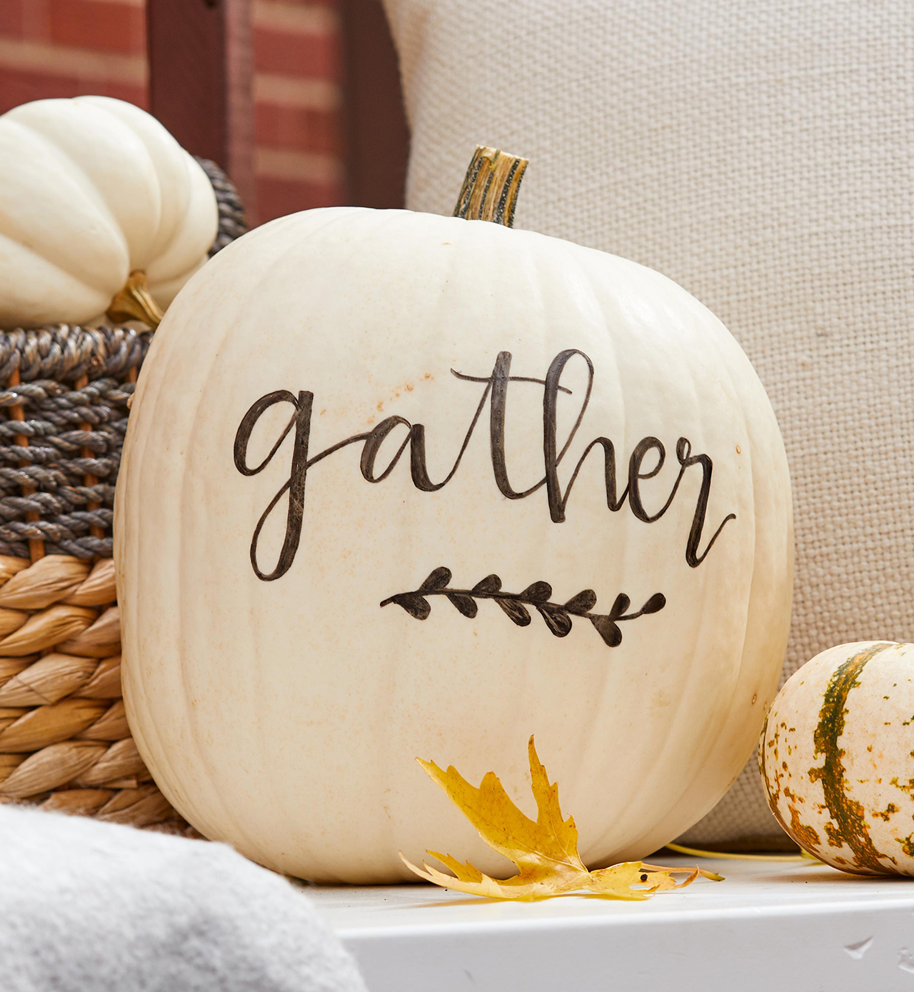 message painted white pumpkin fall decor