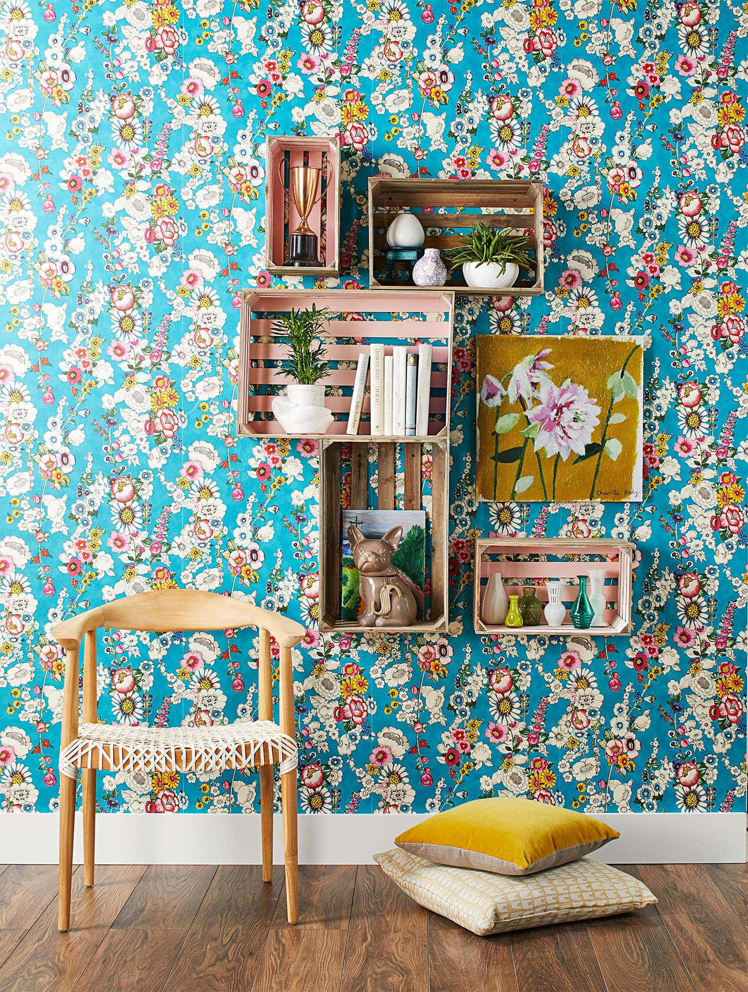 racks mounted on patterned wall at home