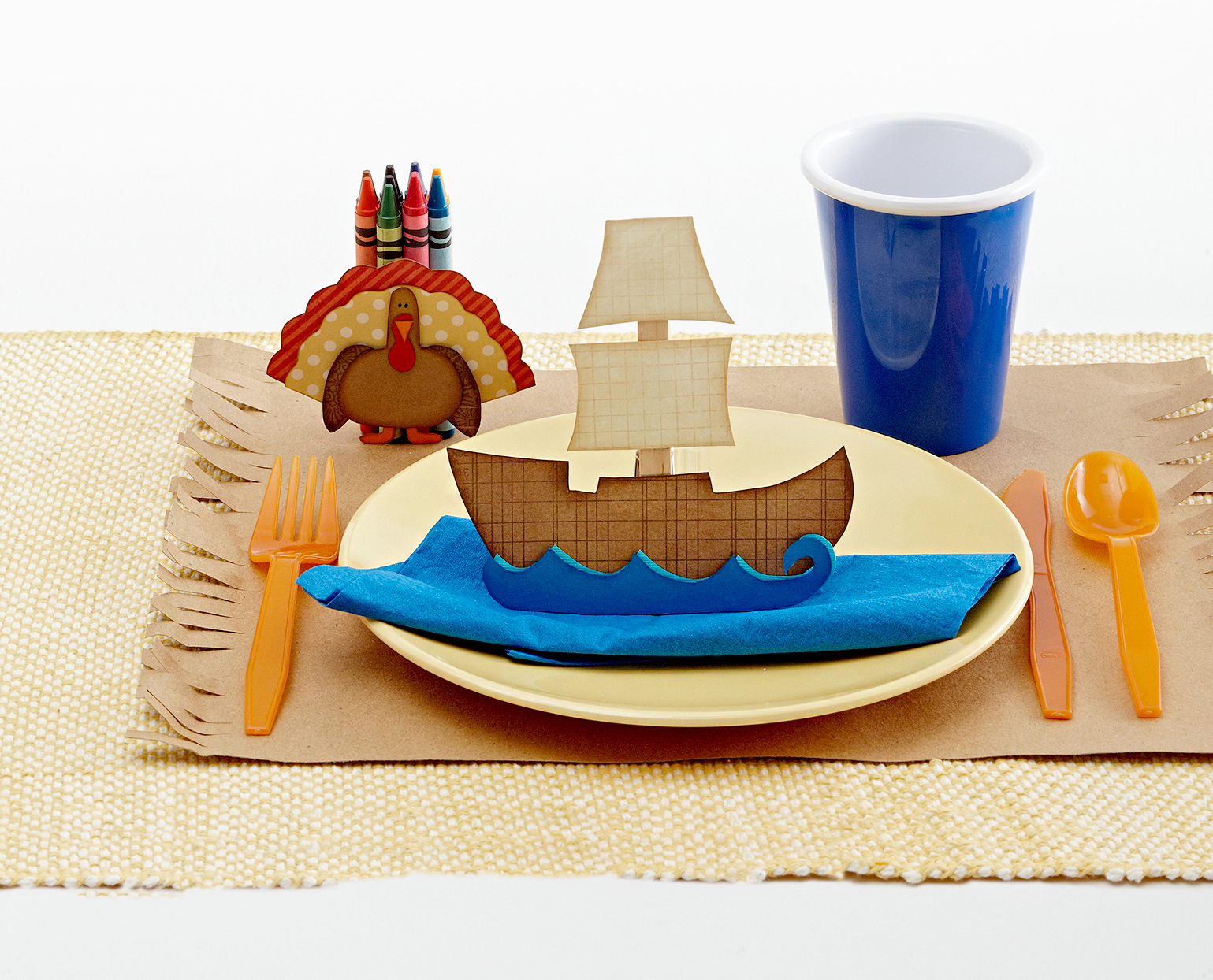 Thanksgiving crafts with turkey and ship