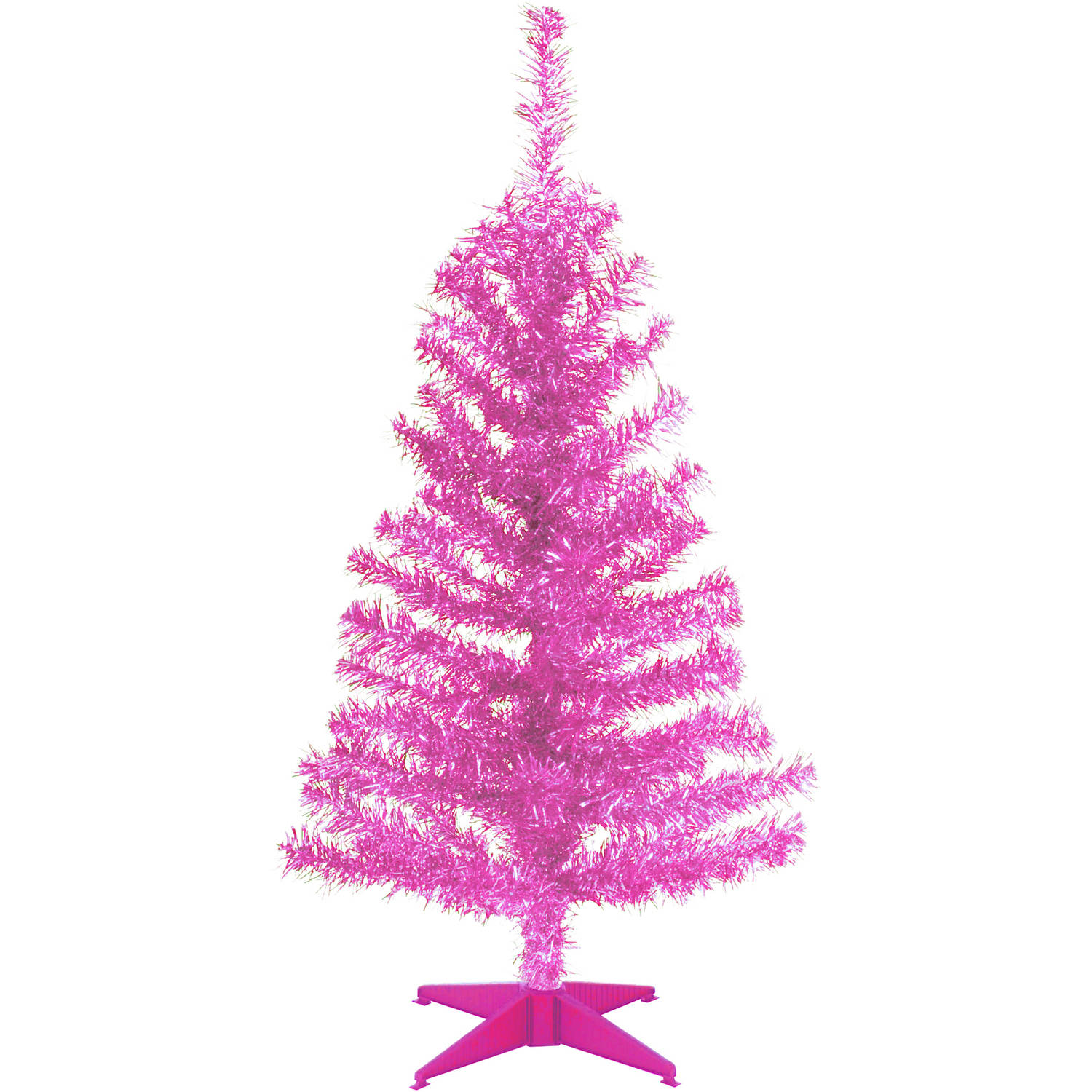 hot pink tabletop tinsel tree with pink stand