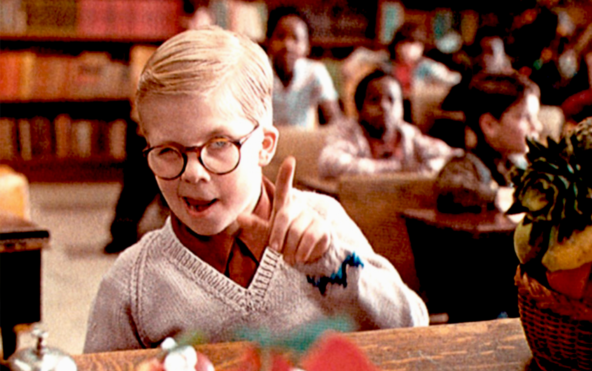 movie still from A Christmas Story of the character Ralphie
