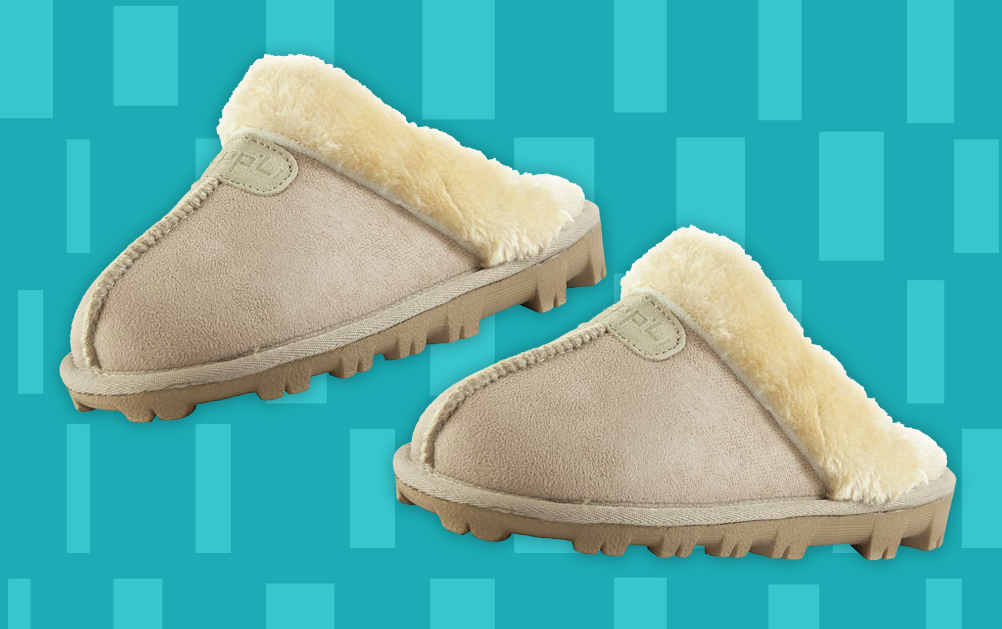 Amazon cozy mule slippers in light beige on a colored background