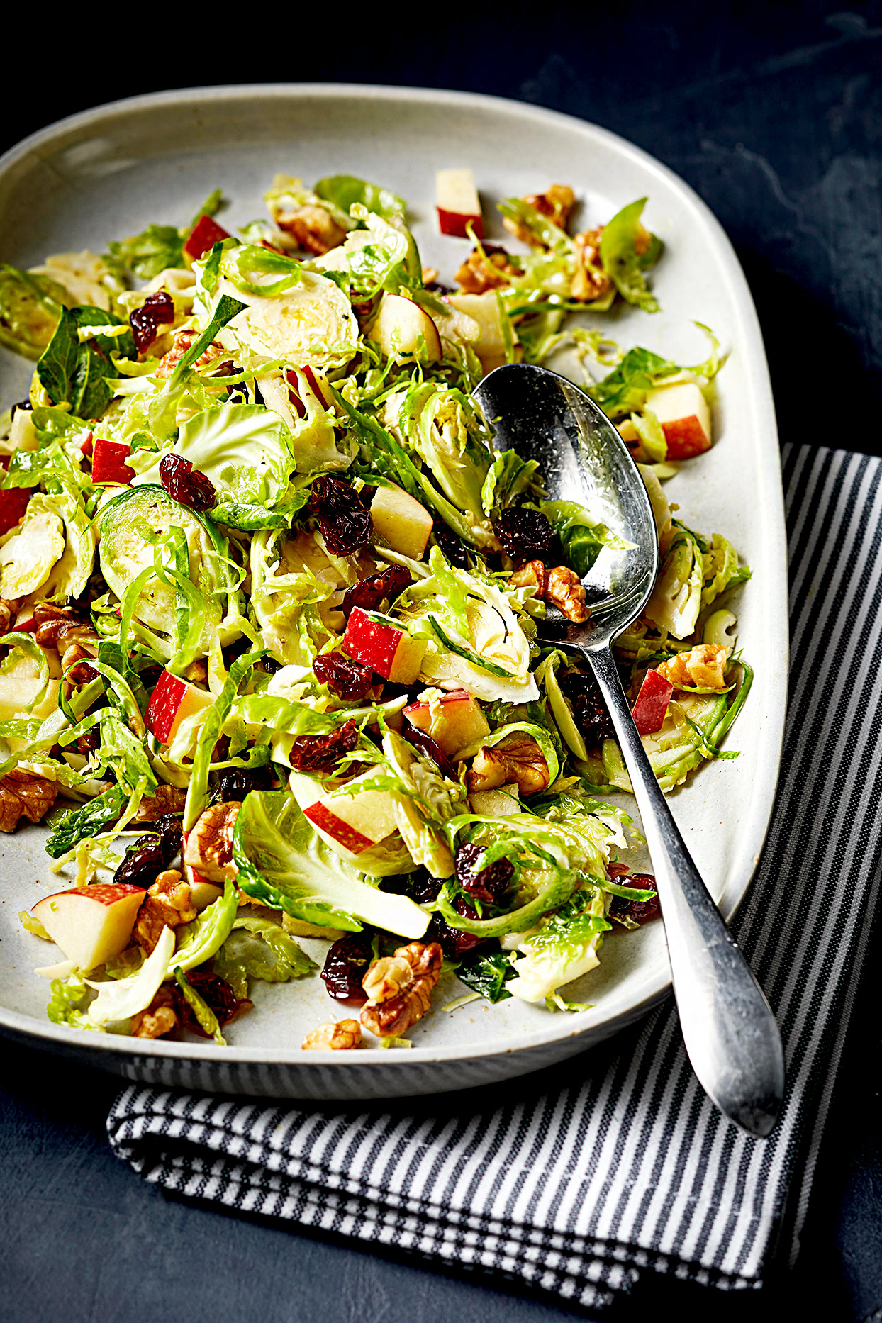 Cherry apple slaw with green brussels sprouts