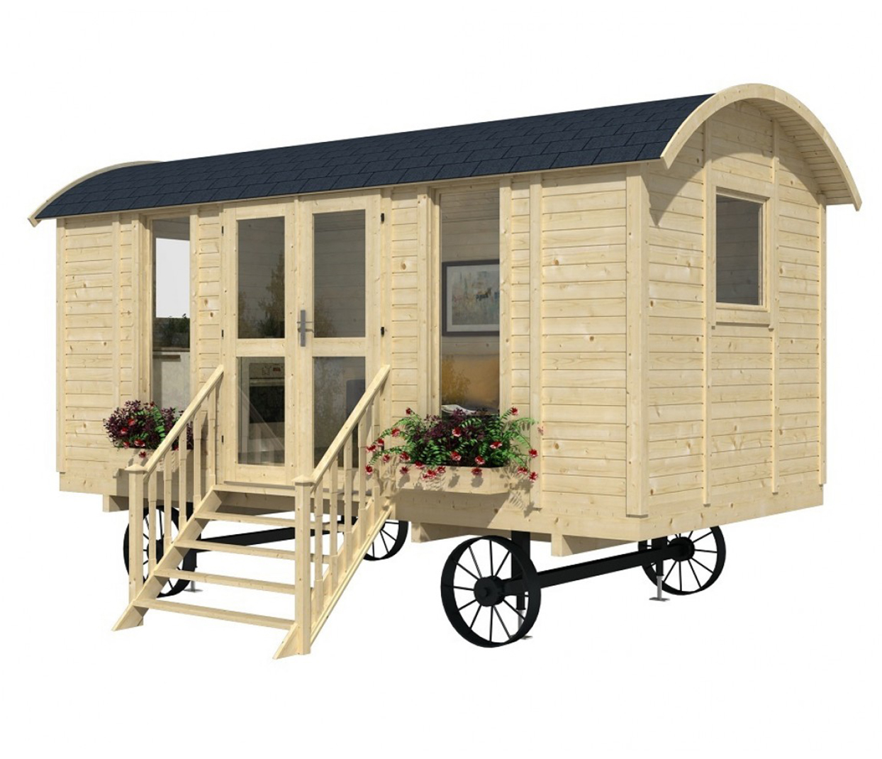 tiny house on wheels with stairs up to the front door and flower window boxes and rounded dark gray roof