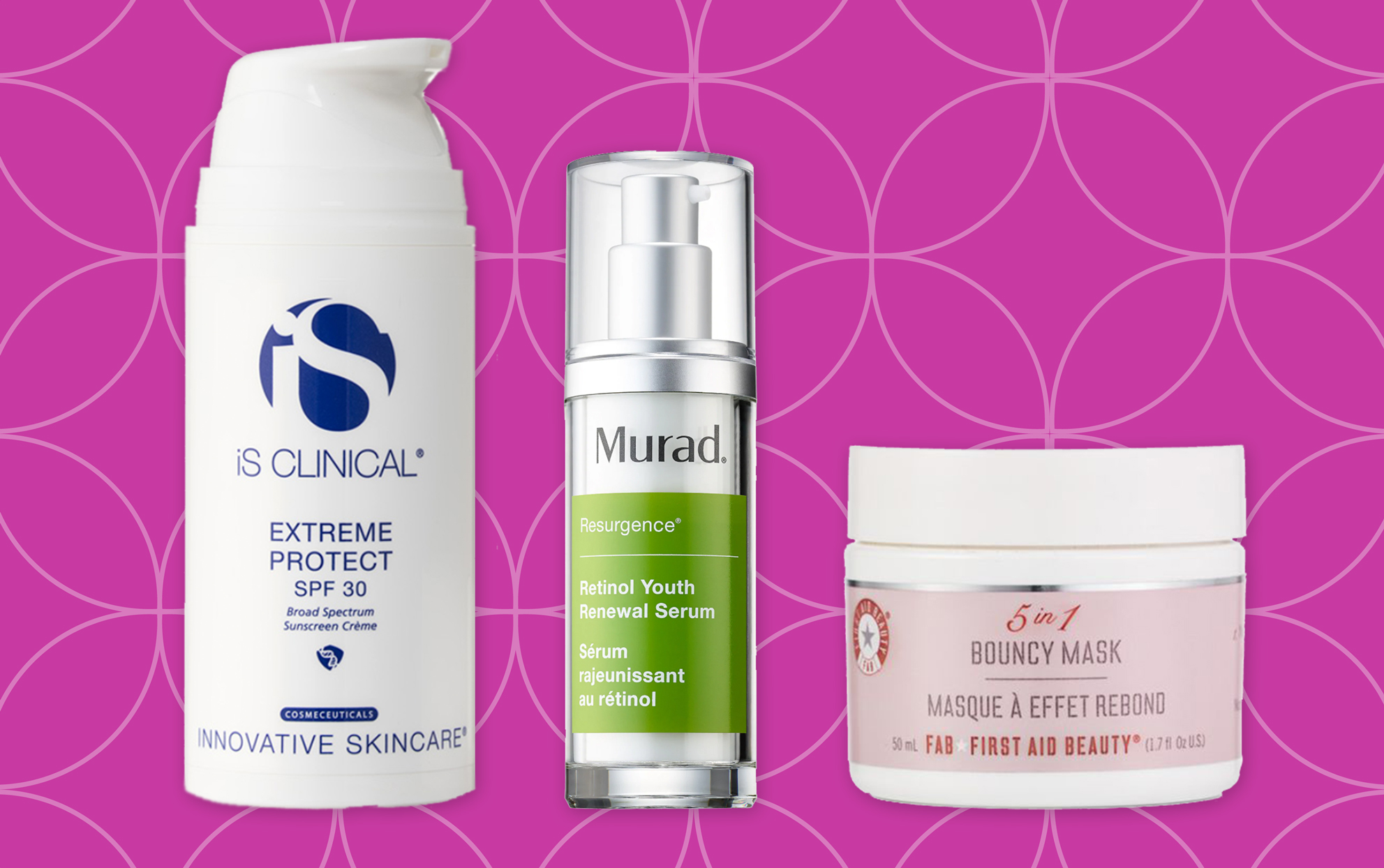 iS Clinical, urad and Bouncy Mask beauty products on a magenta background