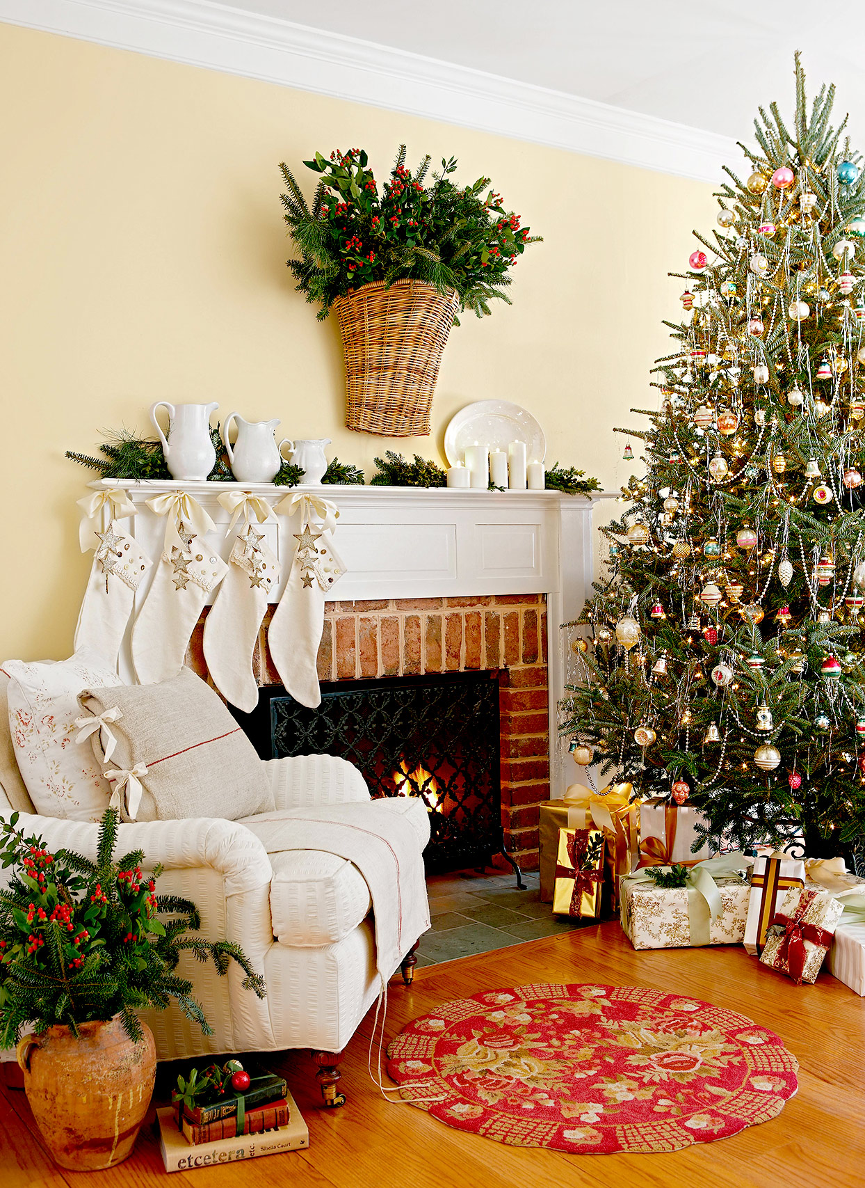 Fireplace with chair and Christmas tree