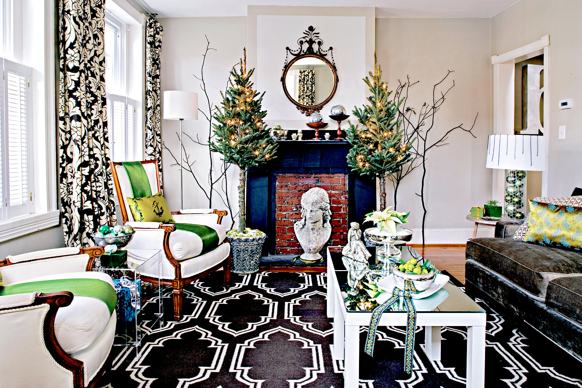 Living room with geometric patterns and tall Christmas trees